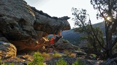Rock Climbing Photo: Working out the roof of Supracore.