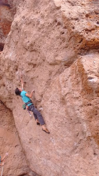 Rock Climbing Photo: midway through route at the crux