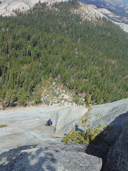 Vlada Matena leading pitch 4, Grand Central, North Buttress of Cathedral