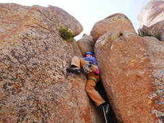 Rock Climbing Photo: The tough start to Slut. The guidebook called it 5...