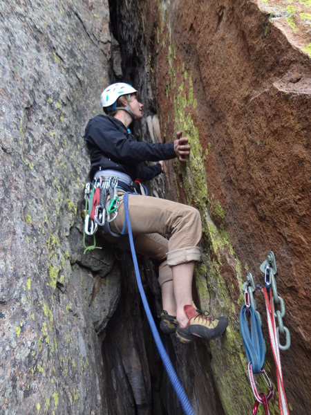 Rock Climbing Photo: Katie on the FFA.