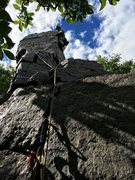 Rock Climbing Photo: Jacob K. leading the summit block of Cleo's Ne...