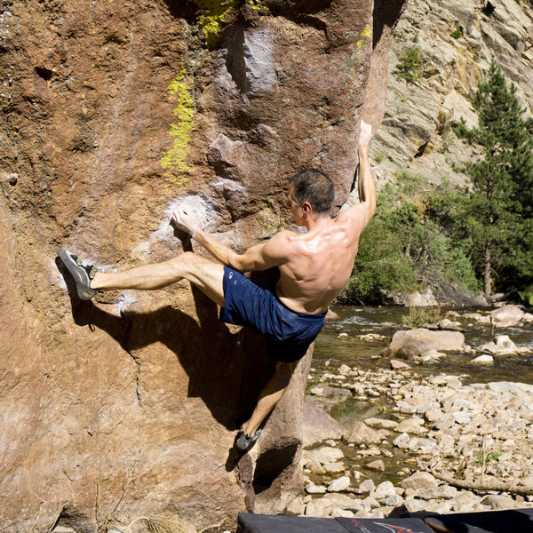 Chris Mason on Resonated, Water Rock, Eldorado Canyon State Park.<br> www.adventuresofrayna.com.