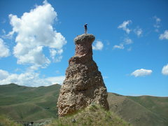My first tower.  <br />We climbed both witches that afternoon.  <br />Scary, loose, fun