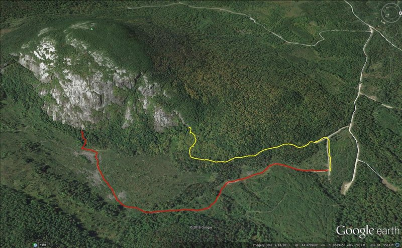 North Bald Cap trails. Red to October Sundae and yellow to Lost Boys area.