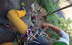 Rock Climbing Photo: Working my way up the first series of cruxes of He...