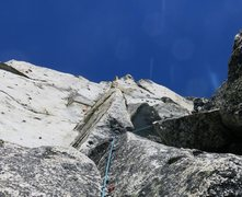 Rock Climbing Photo: Approaching Snafflefold Ledge (officially the end ...