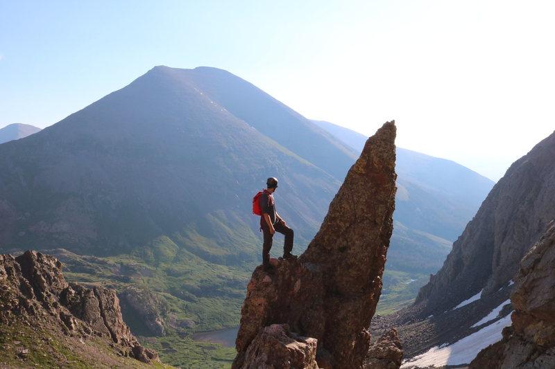 Climbing up Broken Hand Pass on the way to the summit of Crestone Needle