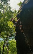 Rock Climbing Photo: Eve clearing the overhang