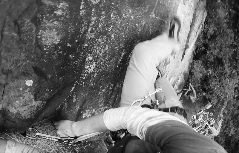 Getting twisted on Grishnakh and Gorbag (5.7) while on onsight lead at Interstate State Park on August 21, 2016.