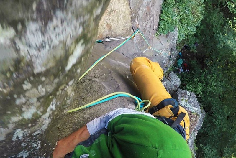 Working the crux on Electric Stove Couch (5.7) while on headpoint lead at Interstate State Park on August 21, 2016.