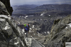 Rock Climbing Photo: Second rappel descending via the OS after after an...