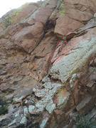 Rock Climbing Photo: Loose block has been circled. New location of the ...