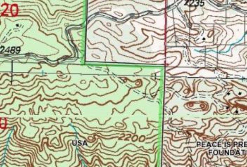 topo of public land boundaries in the area