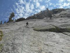 Rock Climbing Photo: Ramsey leading P3 of Penny Lane