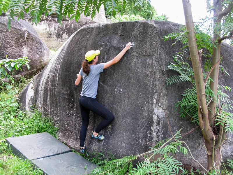 Rock Climbing Photo: Steena climbing in the second set of roadside boul...