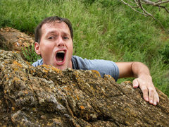 Rock Climbing Photo: Austin looking less cereal.