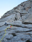 Rock Climbing Photo: Climber is off route, a little right from whodunit...