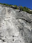 Rock Climbing Photo: 4 [Route photo 4] P4 RH has just done the layback ...