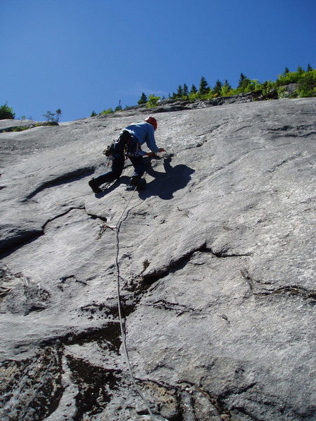 Rock Climbing Photo: 5 [Route photo 5] RW nears the bolt on the slab of...