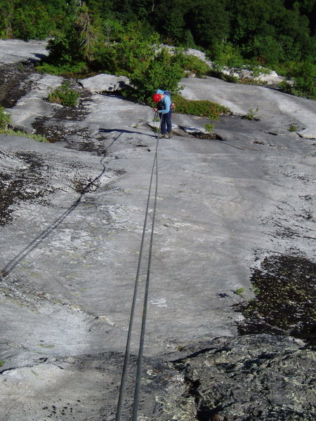 Rock Climbing Photo: 9 Rapping Orgasmo Slab --  the Anchor is to viewer...
