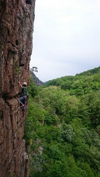 Trad climbing a new one pitch route in Rodopi mountain.