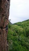 Rock Climbing Photo: Trad climbing a new one pitch route in Rodopi moun...