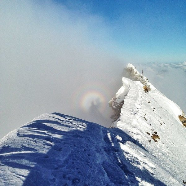 A sick and rare phenomenon called brocken spectre, where a magnified shadow appears in the clouds opposite the sun. Lucky here to have it on the summit of the Matterhorn.