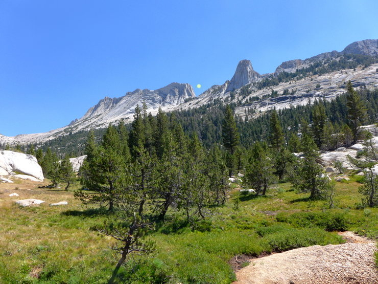 Rock Climbing Photo: approach from Tenaya Peak (dot shows start of Matt...