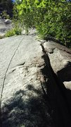Rock Climbing Photo: Looking up P4 at start of clean crack system. Nice...