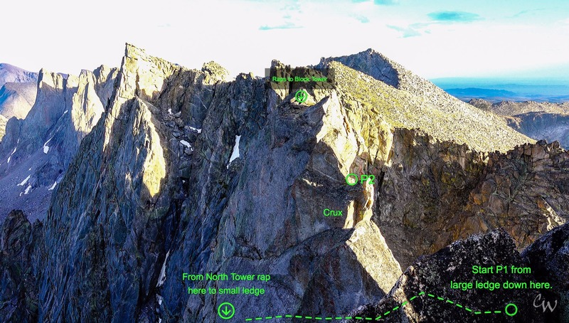 View from the rap anchor on the North summit of Shark Nose looking south to the traverse and summit of the South Tower of Shark Nose.