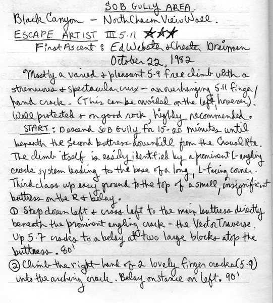 Rock Climbing Photo: Ed's description for Escape Artist (page 1).