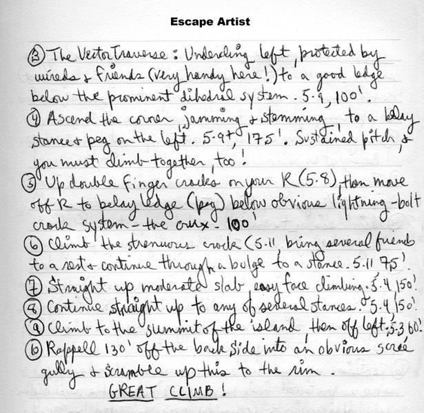 Rock Climbing Photo: Ed's description for Escape Artist (page 2).