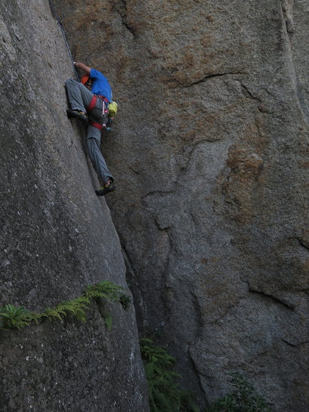 Rock Climbing Photo: Tanner smearing to victory