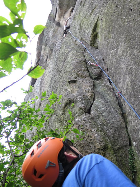 Belaying Steve Carol onto the slab section