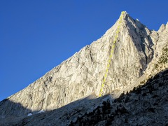 Rock Climbing Photo: Third Recess Peak with the approximate line for th...