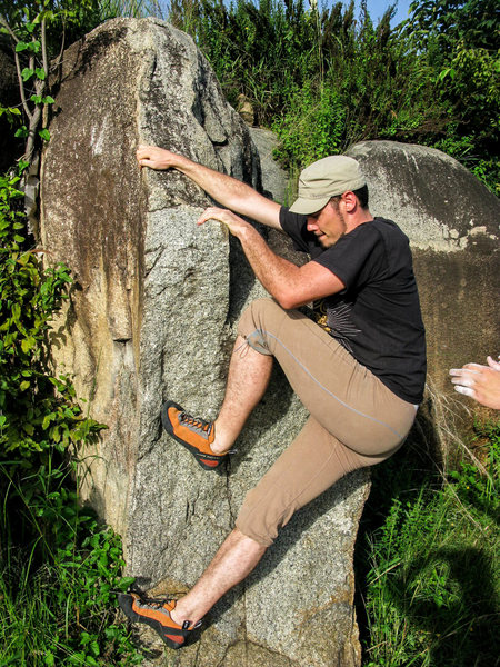 Rock Climbing Photo: Swiss guy climbing Swiss Mix.  Skin-tight pants an...