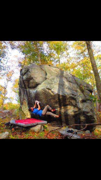 Rock Climbing Photo: Original start on the crimp where my foot is