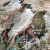 Lines of the Ellery Ridges from Google Maps (with descent routes marked). Courtesy Eric Gabel