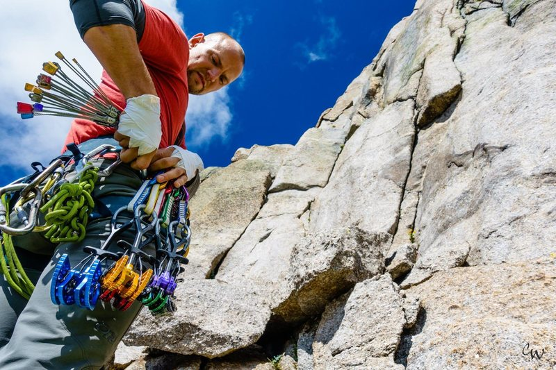 Rock Climbing Photo: Racking up with the new BD Ultralights at the base...