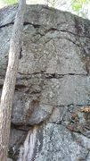 Rock Climbing Photo: Climb the thin face to the right of the flake rout...