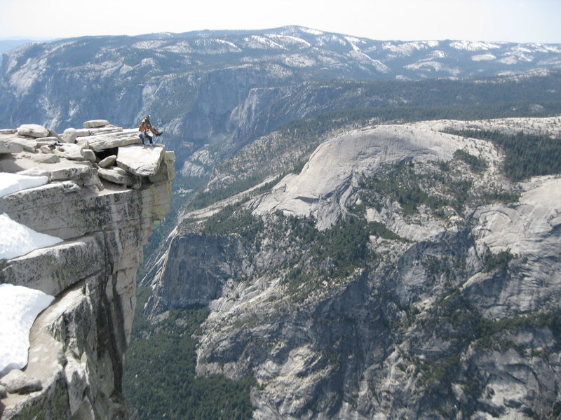 Rock Climbing Photo: Me and Rebel on the top of half dome