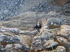 Rock Climbing Photo: Nick Direen climbing Pitch 2, the 5.7 crux.
