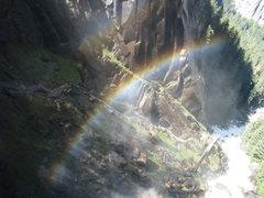 Rock Climbing Photo: Rainbow from the mist trail