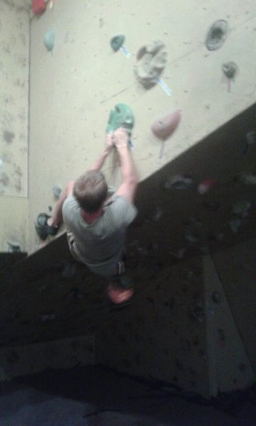 Figuring out the overhang starting from the ground below this hold.