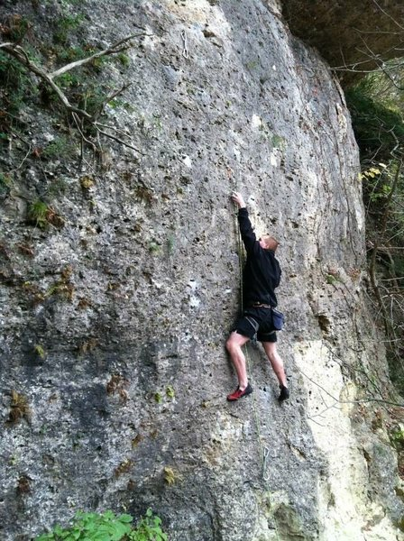 Josh doing his first lead climb on Trespass.
