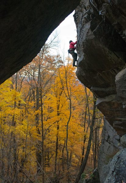 Rock Climbing Photo: Jonathan Garlough on the upper section of Reboot t...