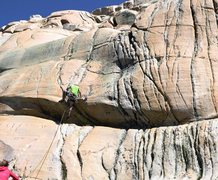 Rock Climbing Photo: FA of the Unnamed 5.7 on the Dinosaur Crag, August...