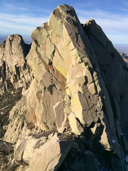 The south face of Squaretop, with the South East Arete route partially visible on the right.