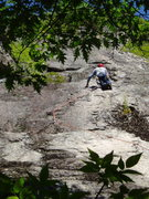 "Rock Climbing Photo: RW above the ""flakes"" of P1; he's at..."
